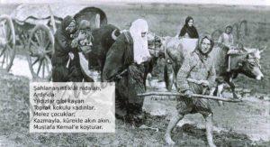 Şahlanan istiklâl nidaları, Ardında: Yıldızlar gibi kayan Toprak kokulu kadınlar, Melez çocuklar; Kazmayla, kürekle akın akın, Mustafa Kemal'e koştular.